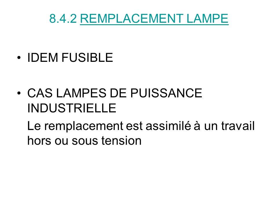8.4.2 REMPLACEMENT LAMPE IDEM FUSIBLE. CAS LAMPES DE PUISSANCE INDUSTRIELLE.