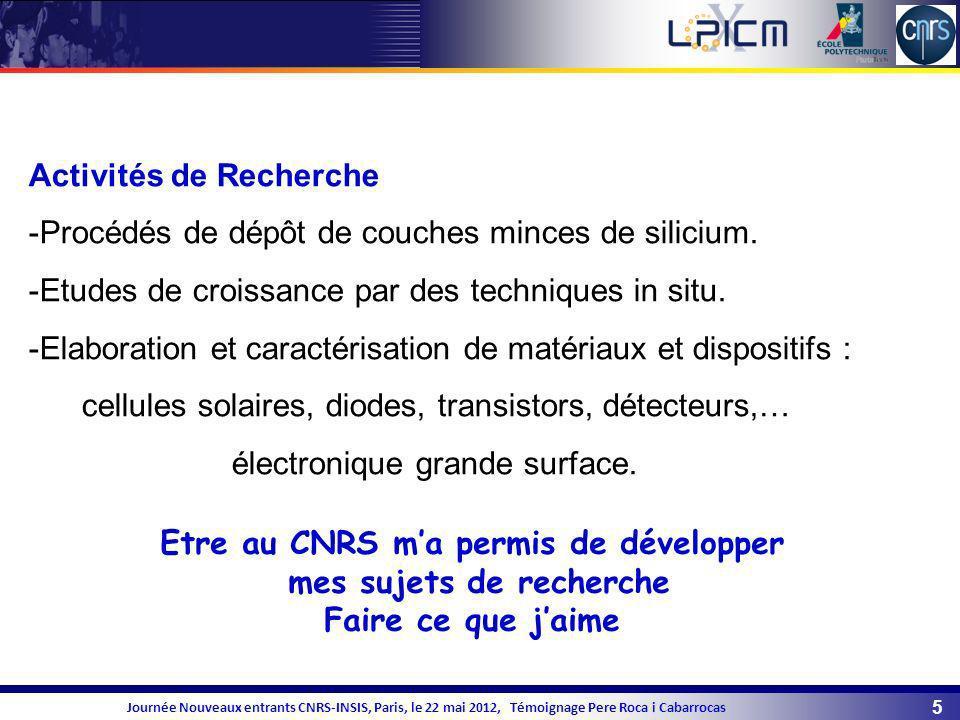 Etre au CNRS m'a permis de développer mes sujets de recherche