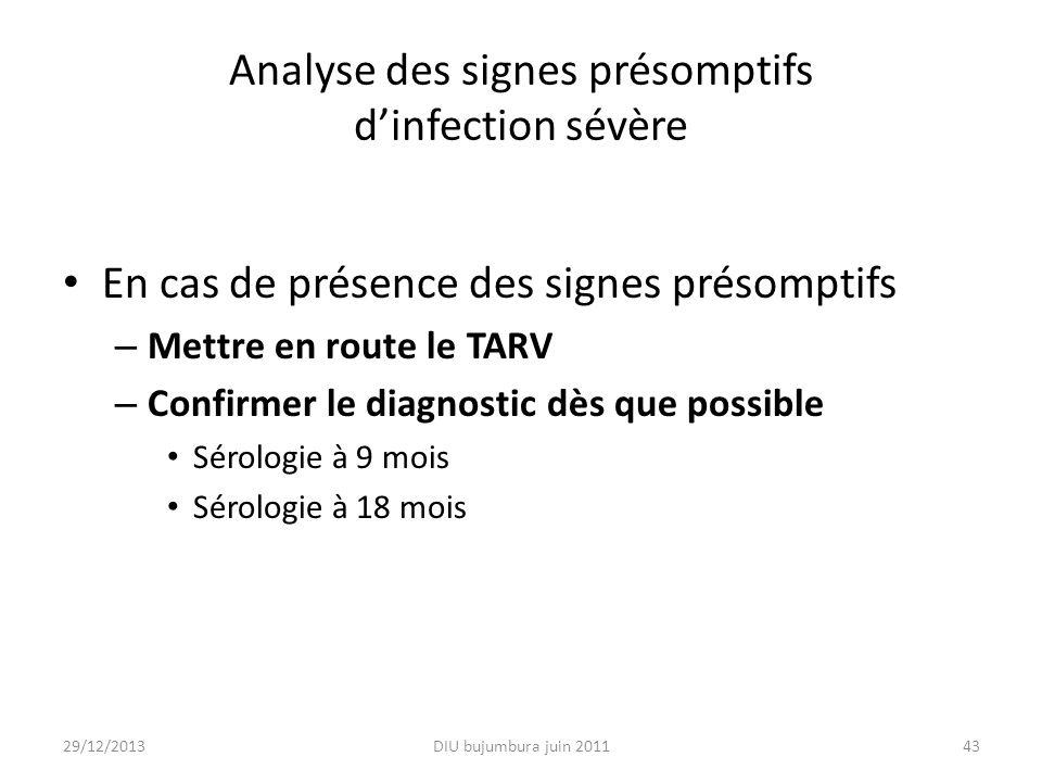 Analyse des signes présomptifs d'infection sévère