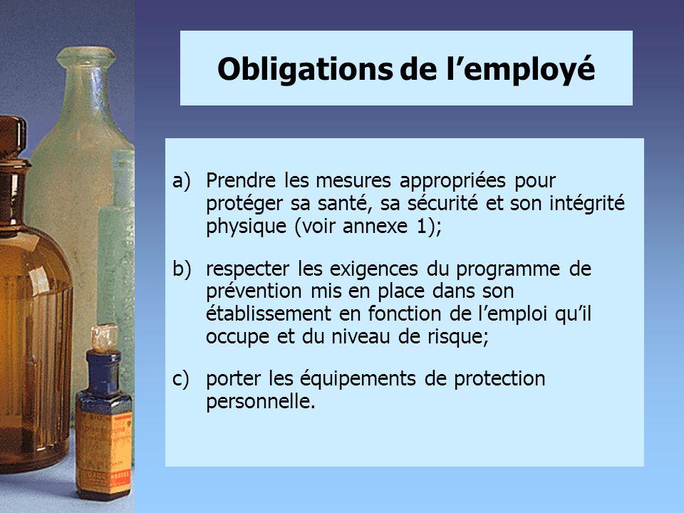 Obligations de l'employé