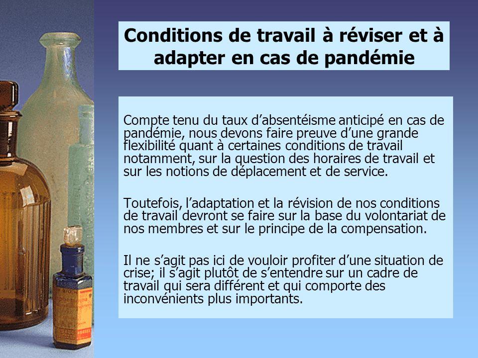 Conditions de travail à réviser et à adapter en cas de pandémie