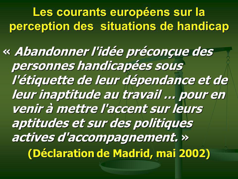 Les courants européens sur la perception des situations de handicap