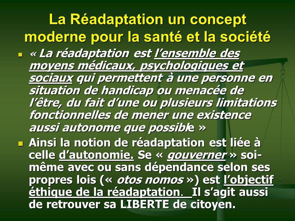 La Réadaptation un concept moderne pour la santé et la société