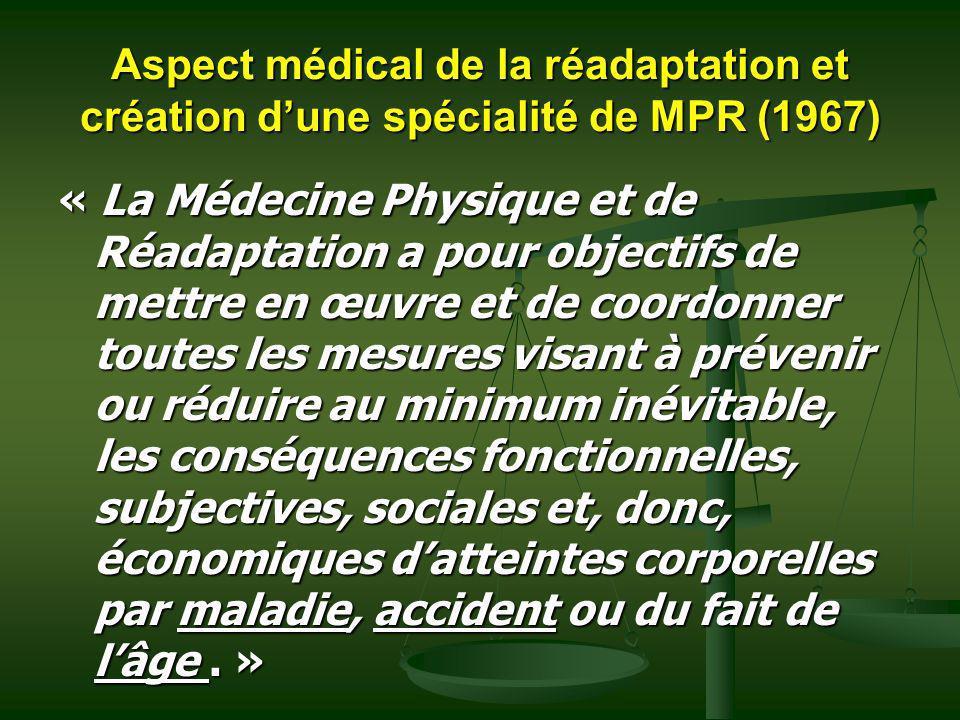 Aspect médical de la réadaptation et création d'une spécialité de MPR (1967)