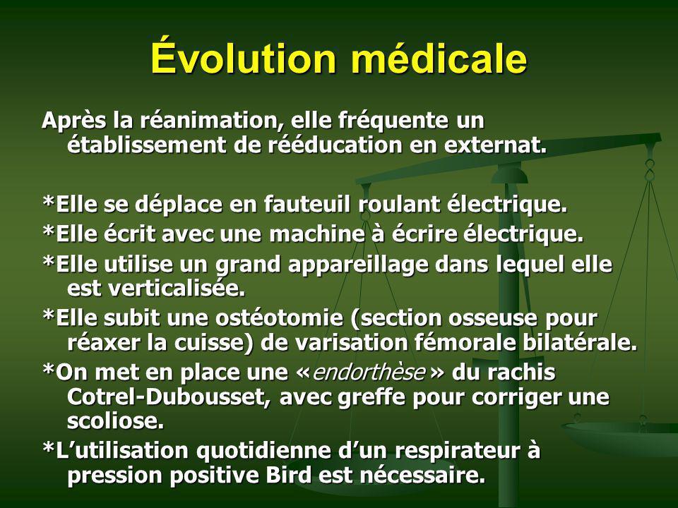 Évolution médicale Après la réanimation, elle fréquente un établissement de rééducation en externat.