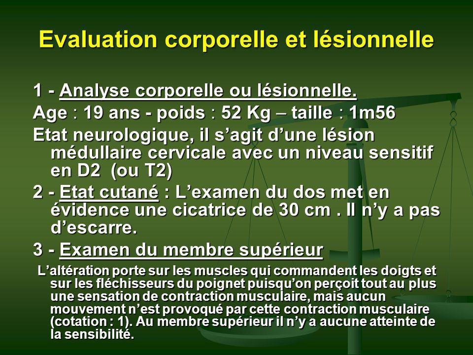 Evaluation corporelle et lésionnelle