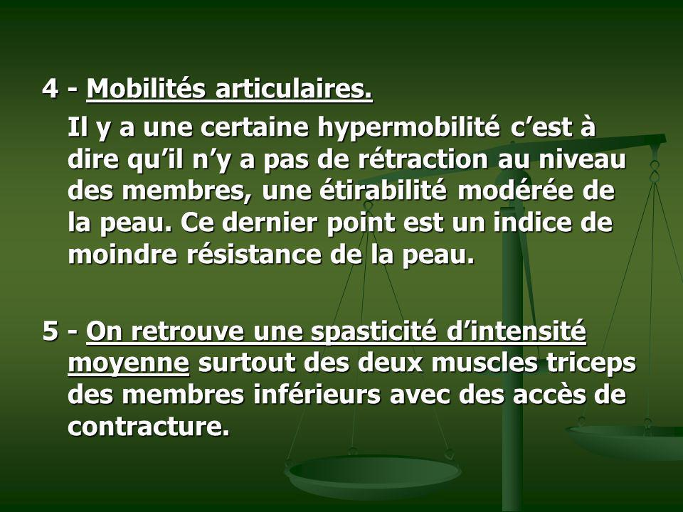 4 - Mobilités articulaires.