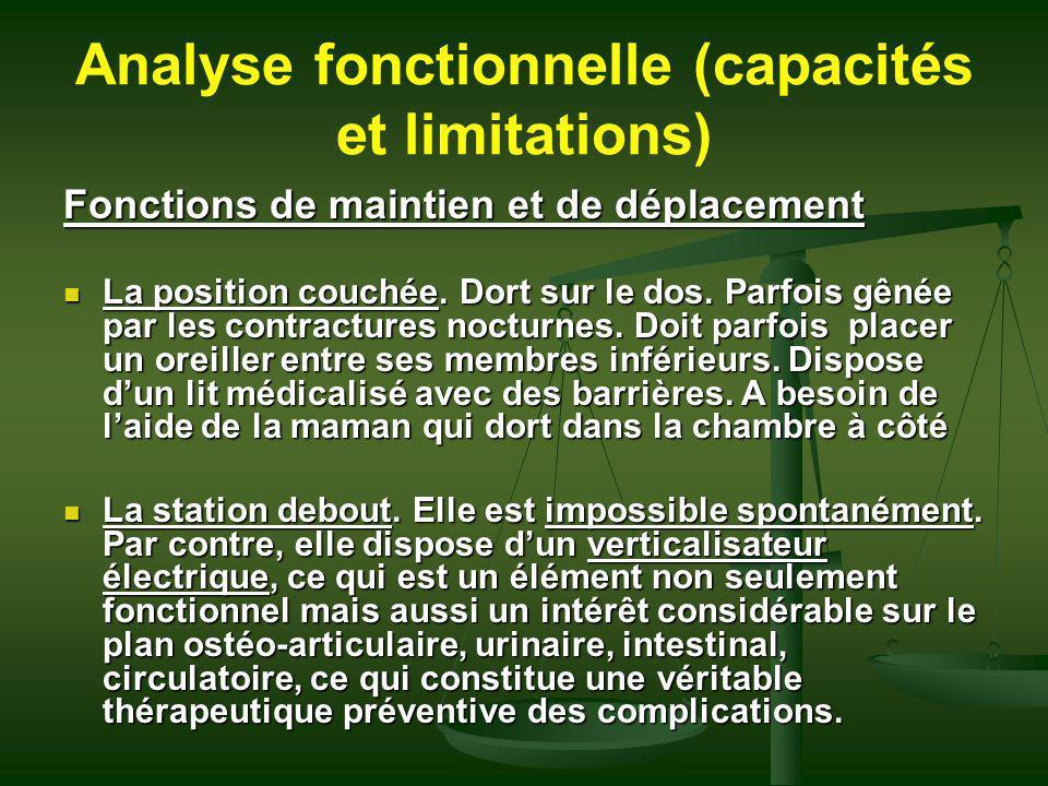 Analyse fonctionnelle (capacités et limitations)