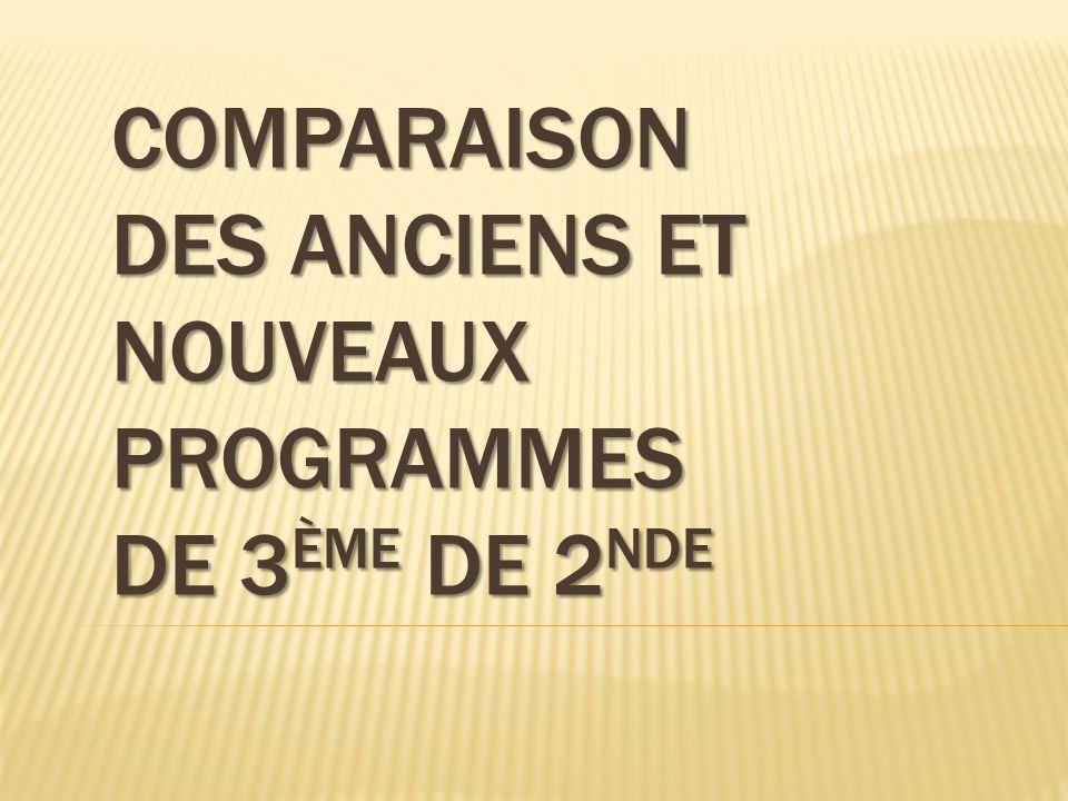 Comparaison des anciens et nouveaux programmes de 3ème de 2nde