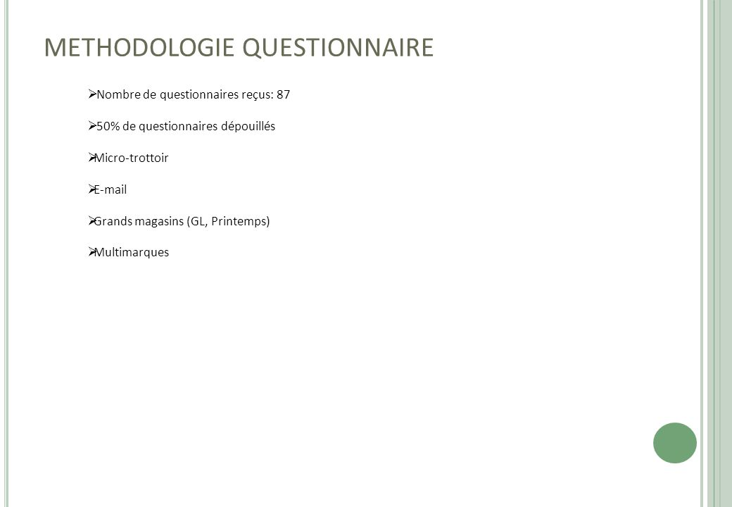 METHODOLOGIE QUESTIONNAIRE