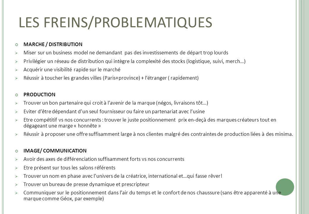 LES FREINS/PROBLEMATIQUES