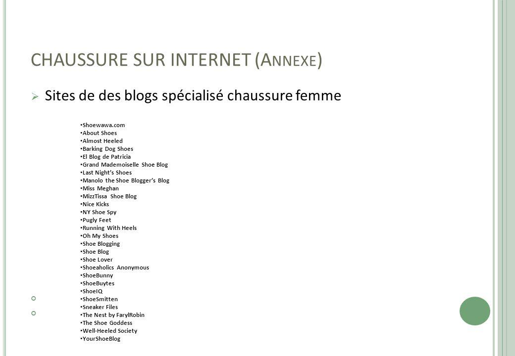CHAUSSURE SUR INTERNET (Annexe)