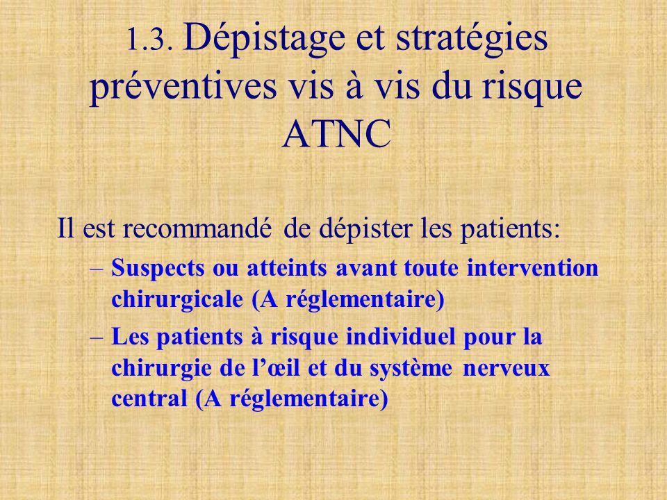 1.3. Dépistage et stratégies préventives vis à vis du risque ATNC