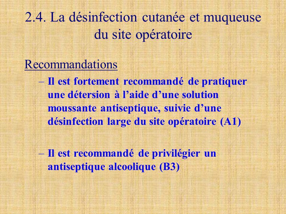 2.4. La désinfection cutanée et muqueuse du site opératoire