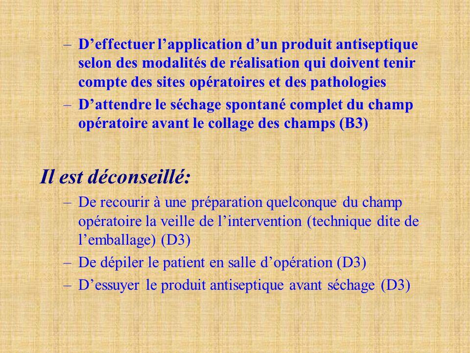 D'effectuer l'application d'un produit antiseptique selon des modalités de réalisation qui doivent tenir compte des sites opératoires et des pathologies
