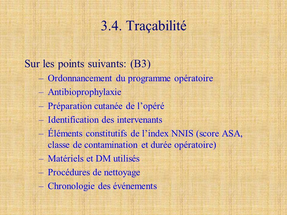 3.4. Traçabilité Sur les points suivants: (B3)