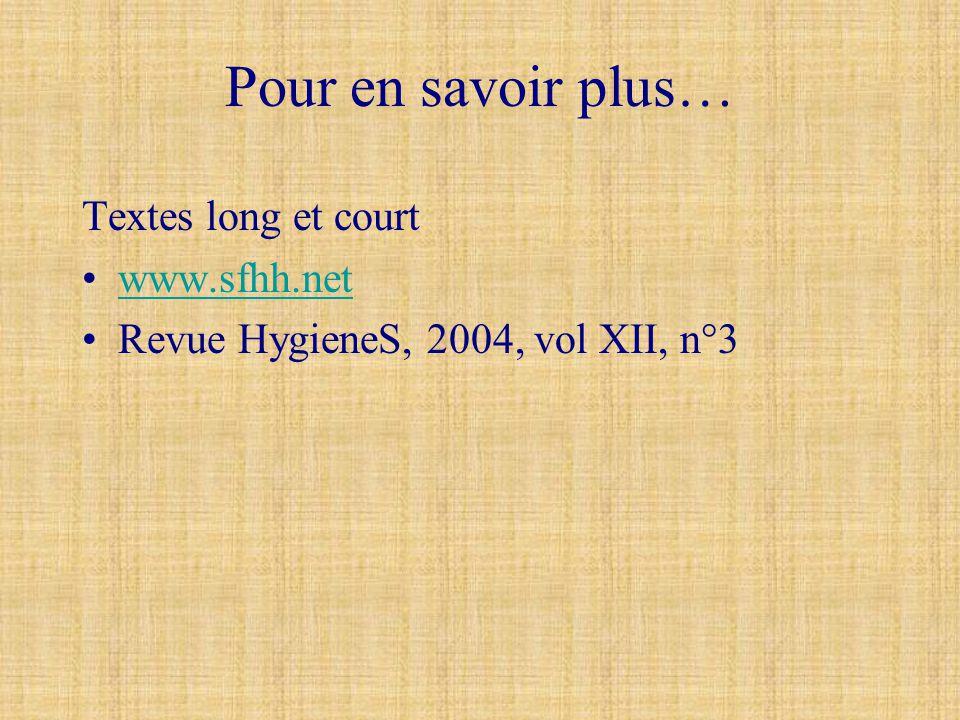 Pour en savoir plus… Textes long et court www.sfhh.net