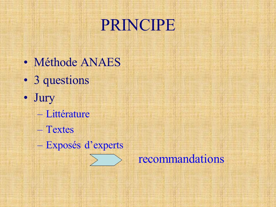 PRINCIPE Méthode ANAES 3 questions Jury recommandations Littérature