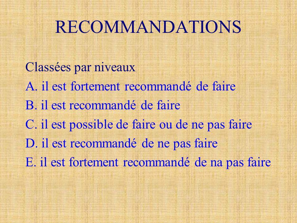 RECOMMANDATIONS Classées par niveaux