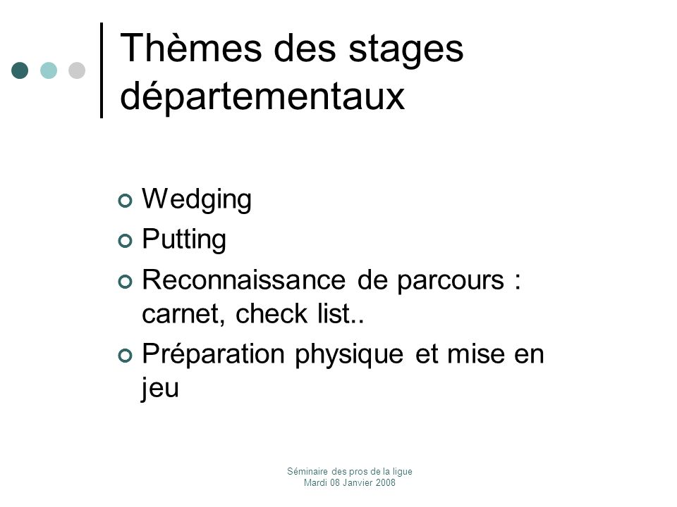Thèmes des stages départementaux