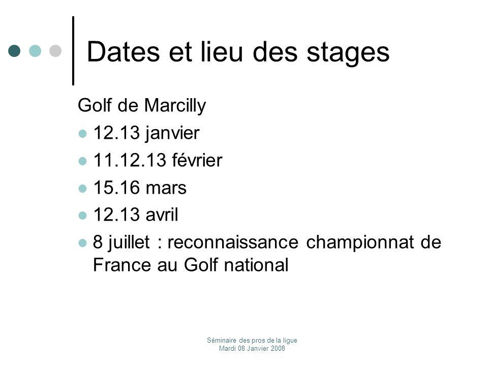 Dates et lieu des stages