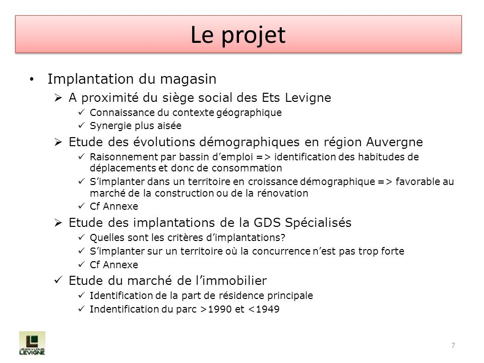 Le projet Implantation du magasin