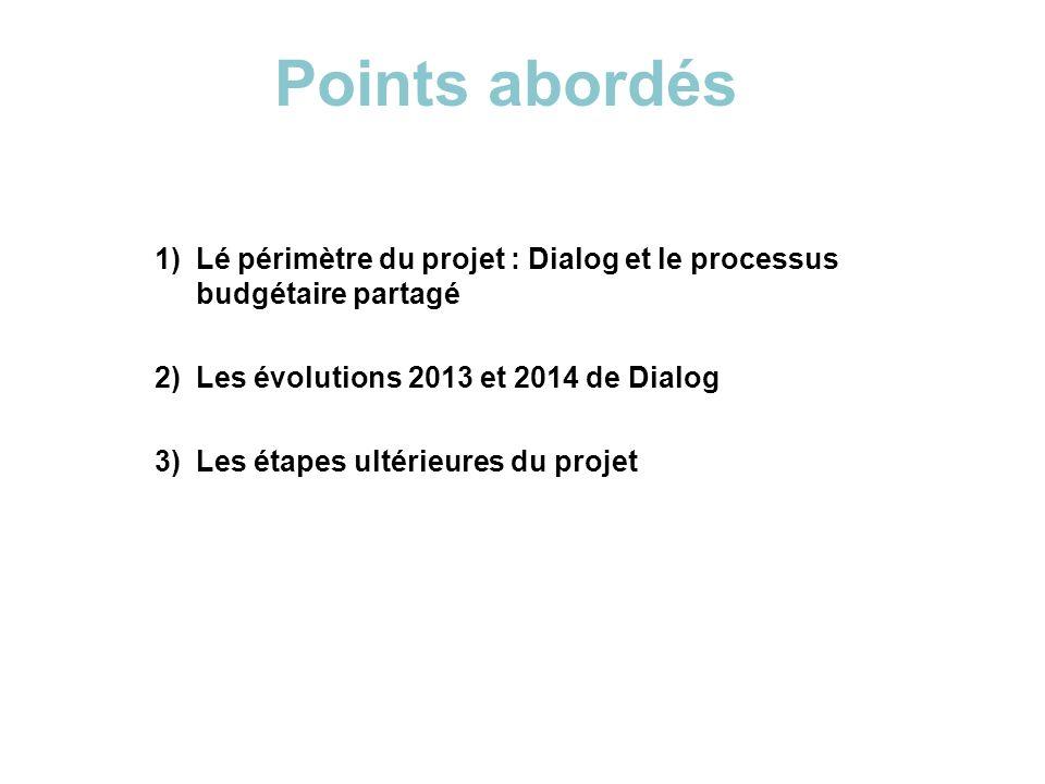 Points abordés Lé périmètre du projet : Dialog et le processus budgétaire partagé. Les évolutions 2013 et 2014 de Dialog.