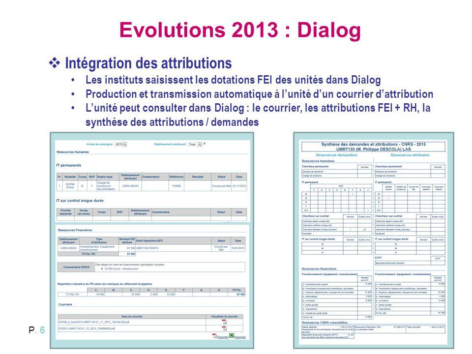 Evolutions 2013 : Dialog Intégration des attributions