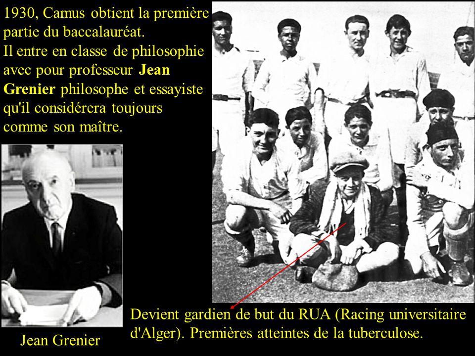 1930, Camus obtient la première partie du baccalauréat.