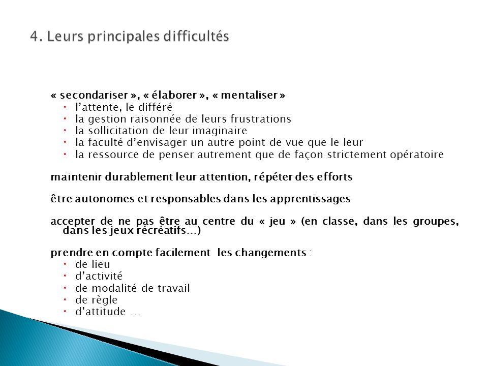 4. Leurs principales difficultés