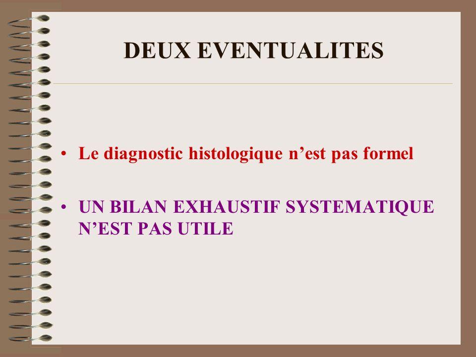 DEUX EVENTUALITES Le diagnostic histologique n'est pas formel