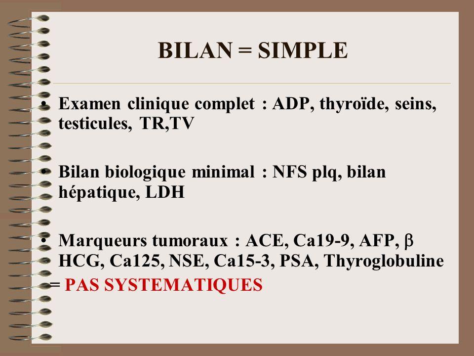 BILAN = SIMPLEExamen clinique complet : ADP, thyroïde, seins, testicules, TR,TV. Bilan biologique minimal : NFS plq, bilan hépatique, LDH.