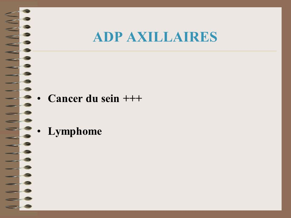 ADP AXILLAIRES Cancer du sein +++ Lymphome
