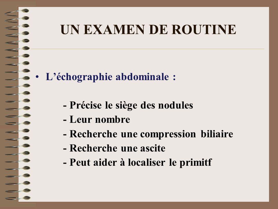 UN EXAMEN DE ROUTINE L'échographie abdominale :
