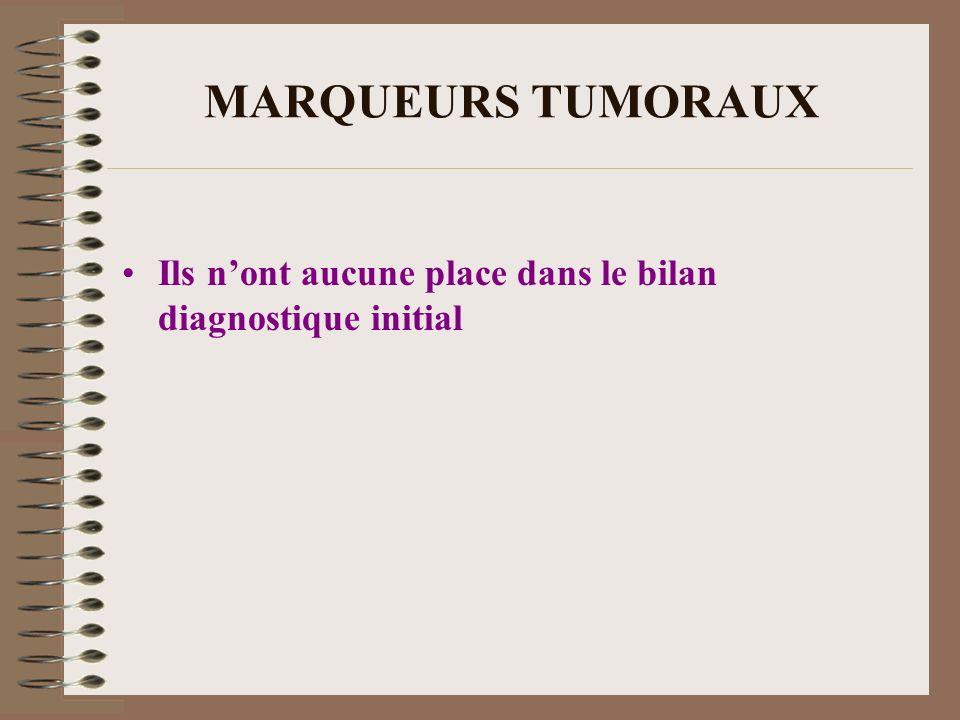 MARQUEURS TUMORAUX Ils n'ont aucune place dans le bilan diagnostique initial