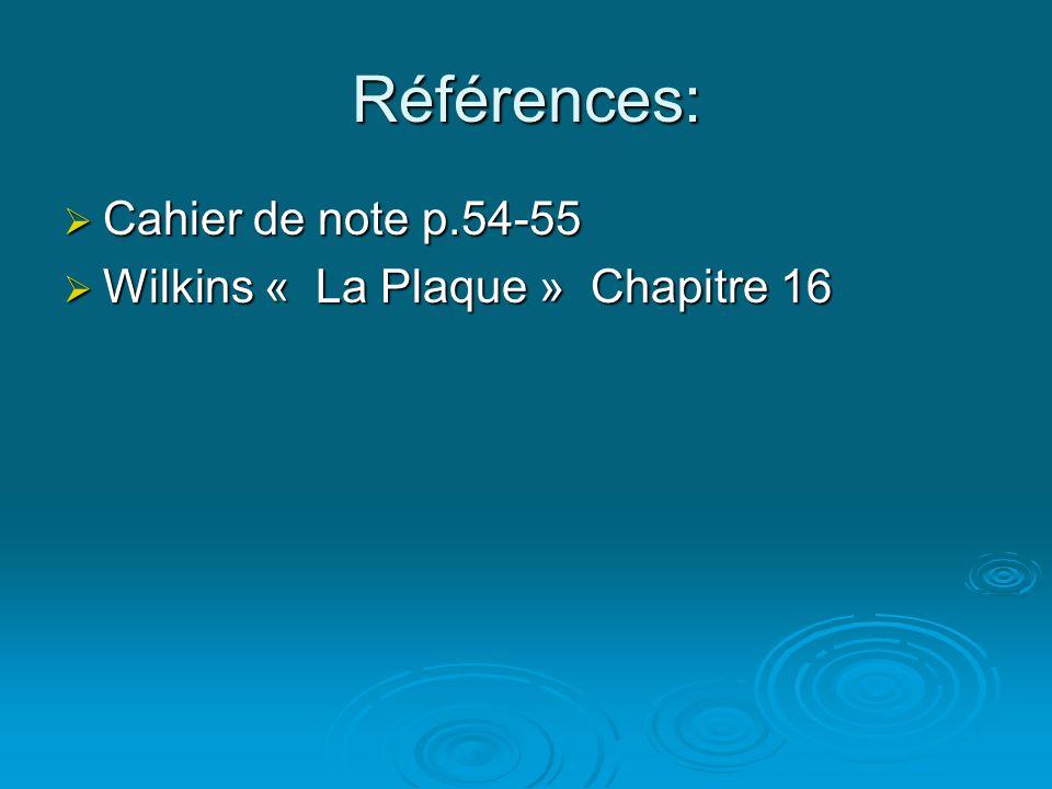Références: Cahier de note p.54-55 Wilkins « La Plaque » Chapitre 16