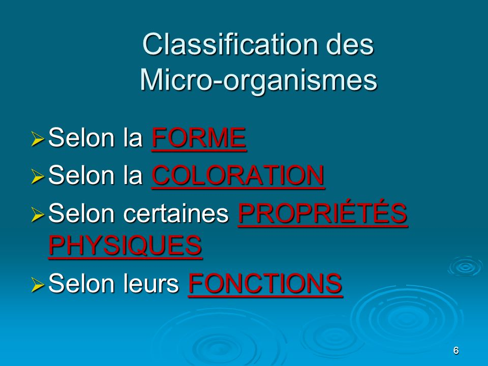 Classification des Micro-organismes