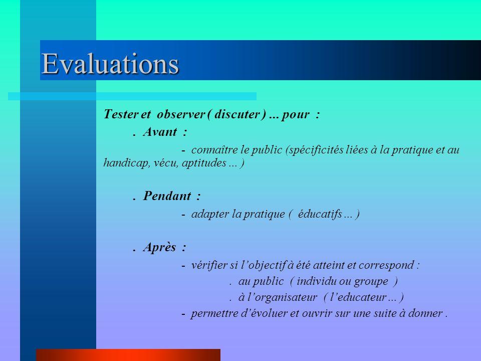 Evaluations Tester et observer ( discuter ) ... pour : . Avant :