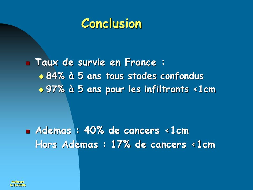Conclusion Taux de survie en France : Ademas : 40% de cancers <1cm