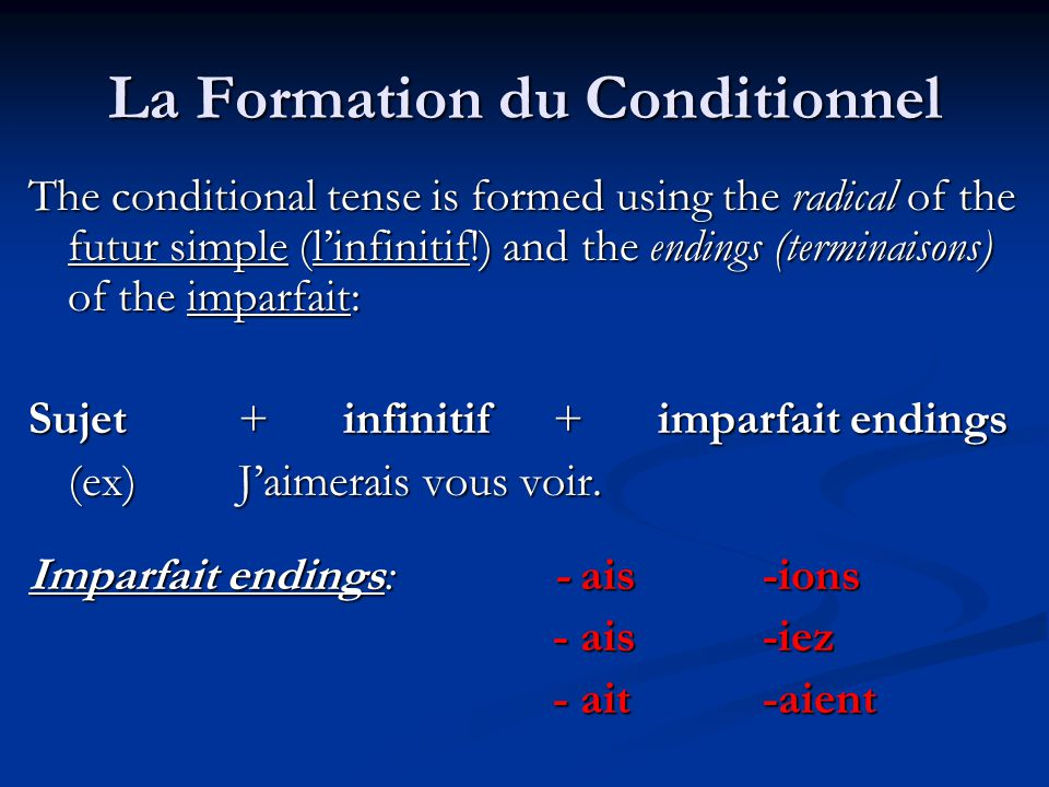 La Formation du Conditionnel
