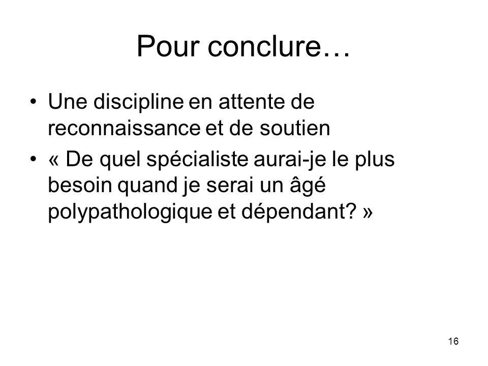 Pour conclure… Une discipline en attente de reconnaissance et de soutien.