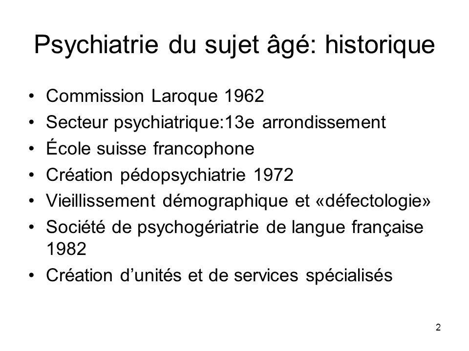 Psychiatrie du sujet âgé: historique