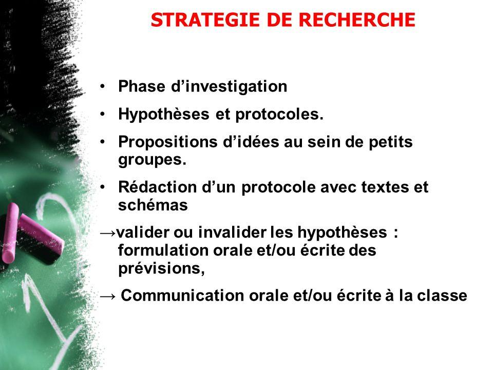 STRATEGIE DE RECHERCHE
