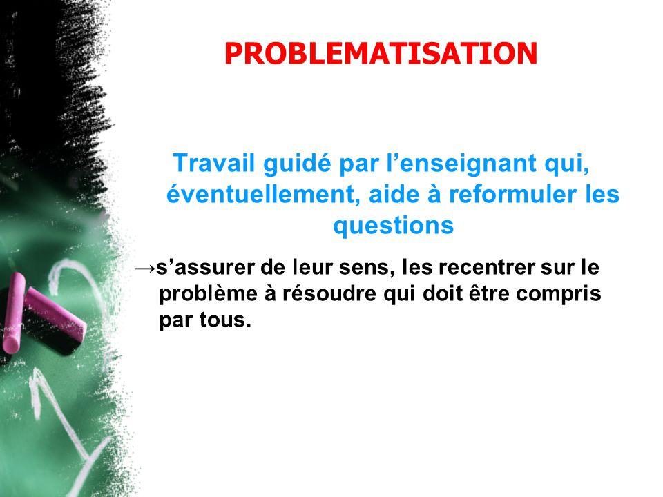 PROBLEMATISATION Travail guidé par l'enseignant qui, éventuellement, aide à reformuler les questions.