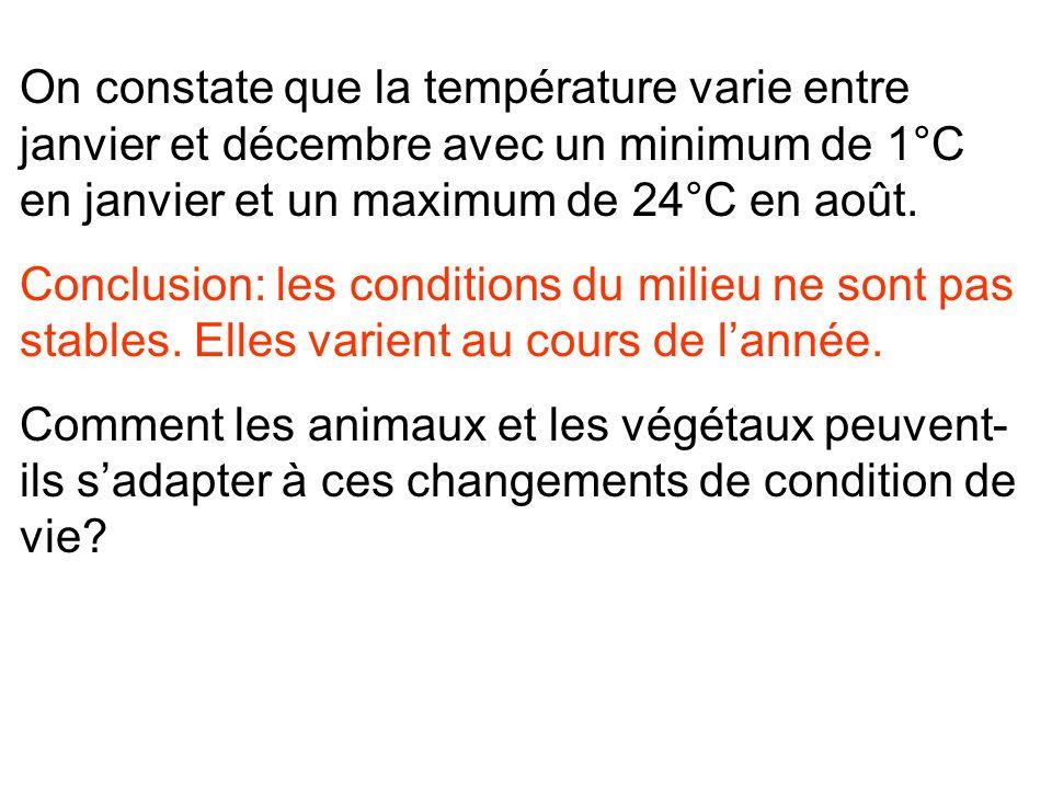 On constate que la température varie entre janvier et décembre avec un minimum de 1°C en janvier et un maximum de 24°C en août.