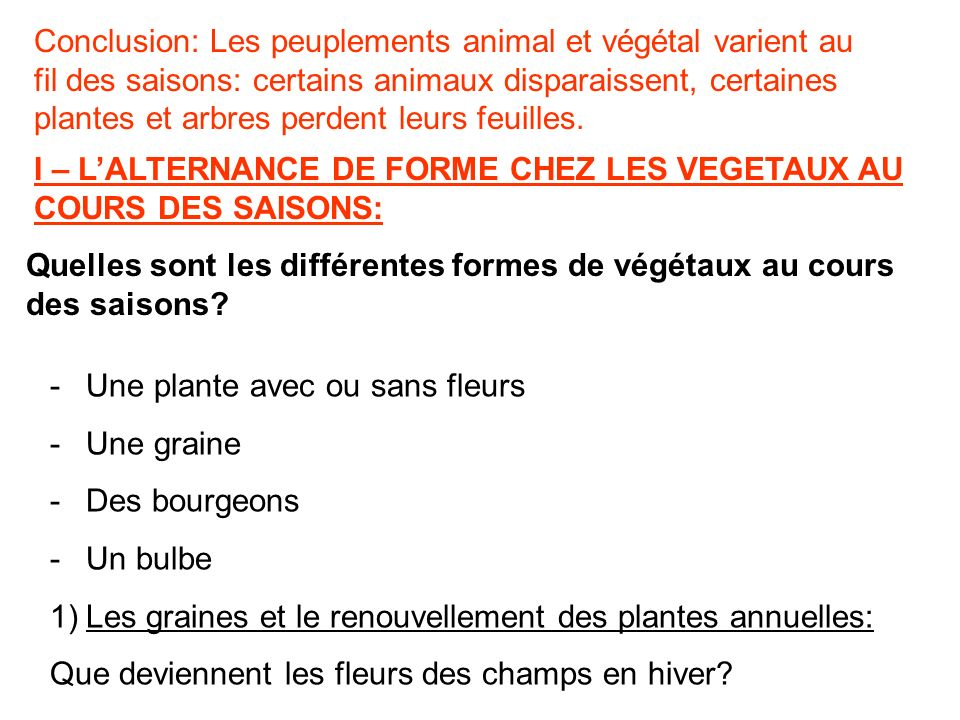 Conclusion: Les peuplements animal et végétal varient au fil des saisons: certains animaux disparaissent, certaines plantes et arbres perdent leurs feuilles.