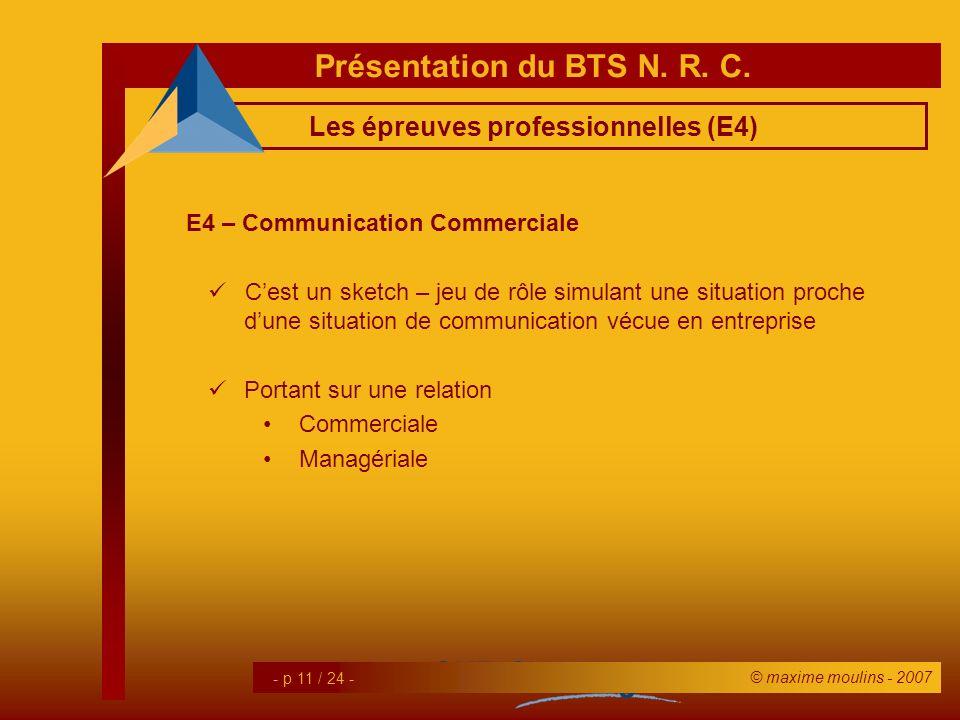 Les épreuves professionnelles (E4)