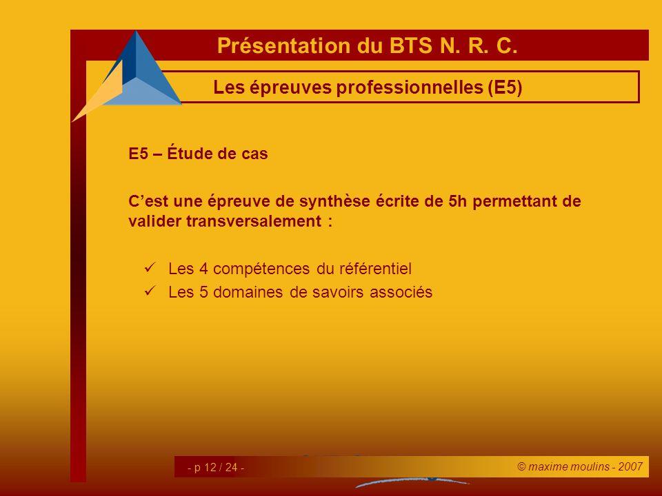Les épreuves professionnelles (E5)
