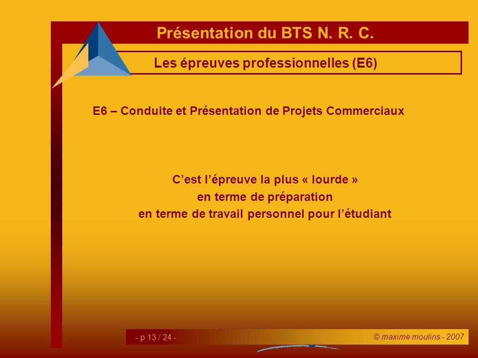 Les épreuves professionnelles (E6)