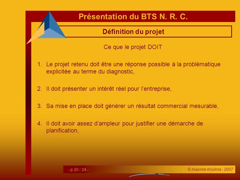 Définition du projet Ce que le projet DOIT